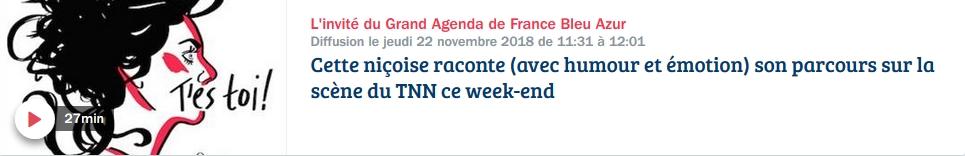 L'invité du Grand Agenda de France Bleu Azur Du lundi au jeudi à 11h30
