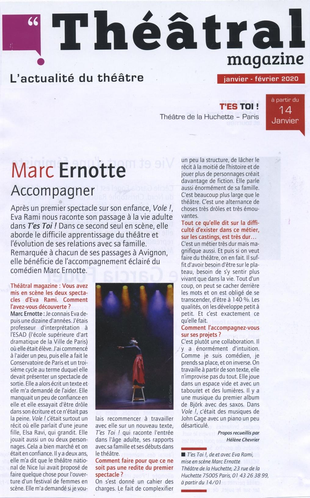 T'es Toi dans Théâtral Magazine